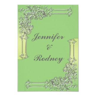 Grön och silverOSA som gifta sig inbjudan
