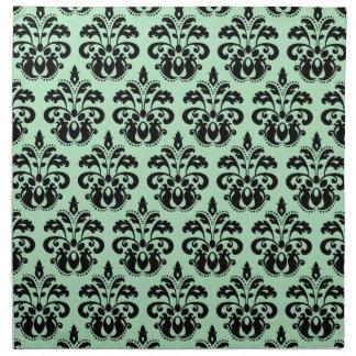Grön och svart damast för Mint Tygservett