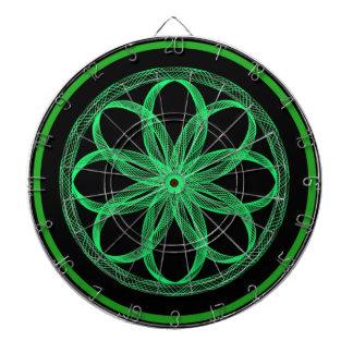 Grön och svart Dartboard för GuillocheMandala Piltavla