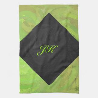 Grön och svart Monogram för Kiwivåldsamt slag Kökshandduk