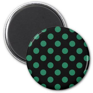 Grön och svart polka dots magnet