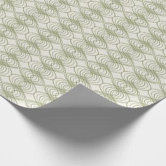 Grön Ogee linjer på den kräm- mönstergåvasjalen Presentpapper