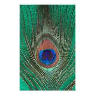 Grön påfågelfjäder brevpapper