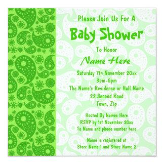 Grön Paisley baby shower Fyrkantigt 13,3 Cm Inbjudningskort