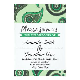 Grön Paisley bröllopinbjudan 12,7 X 17,8 Cm Inbjudningskort