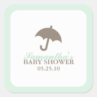 Grön paraplybaby shower fyrkantigt klistermärke