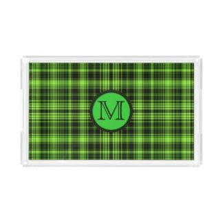 Grön pläd för Monogram Bricka