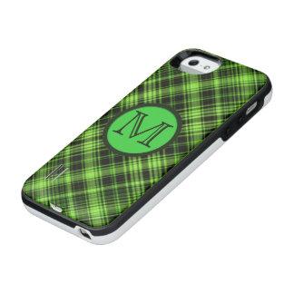 Grön pläd för Monogram iPhone SE/5/5s Batteri Skal
