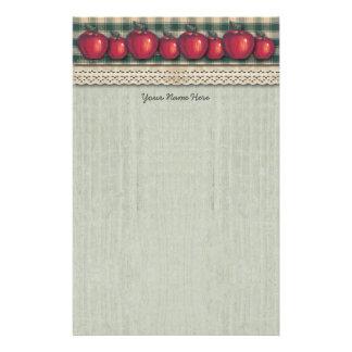 Grön pläd för röda äpplen brevpapper