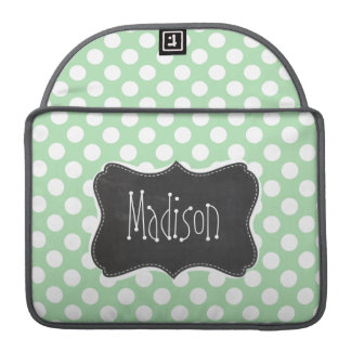 Grön polka dots för Celadon; Svart tavlalook Sleeves För MacBook Pro