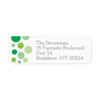 Grön polka dotsfamiljreturadress returadress etikett