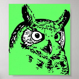 Grön popkonstuggla poster