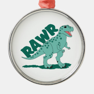 Grön prickig T-Rex Dinosaur för RAWR Julgransprydnad Metall