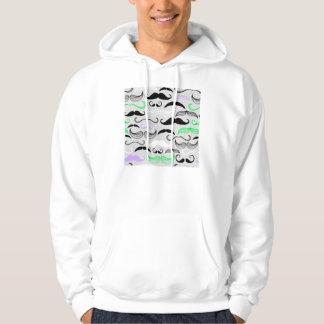 Grön & purpurfärgad mustaschdesign sweatshirt med luva