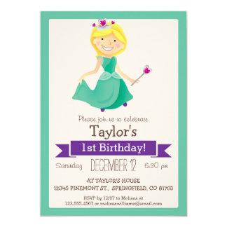 Grön & purpurfärgad Princess, flicka 12,7 X 17,8 Cm Inbjudningskort