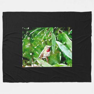 Grön röd hummingbird fleecefilt