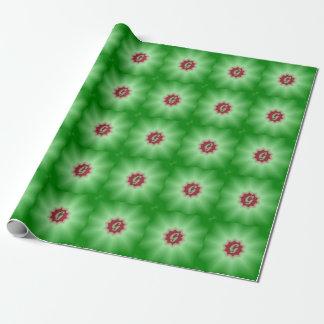 Grön röd Mandala för MonogramG som slår in papper Presentpapper