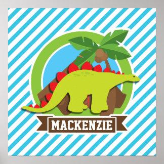 Grön & röd StegosaurusDinosaur; Blått & vit Affischer