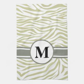Grön Safarisebra med monogramen Kökshandduk