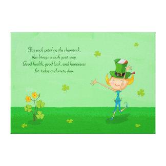 Grön Shamrockklöver & älvor med trollhatten Canvastryck