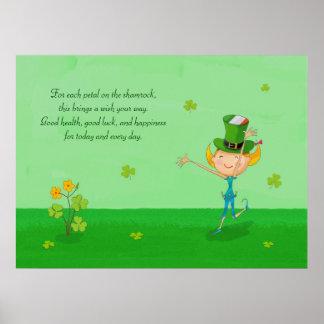 Grön Shamrockklöver & älvor med trollhatten Poster
