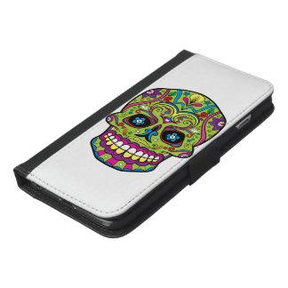 Grön skalle för day of the dead iPhone 6/6s plus plånboksfodral