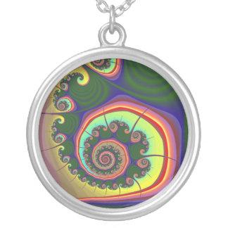 Grön spiral juvelFractal Silverpläterat Halsband