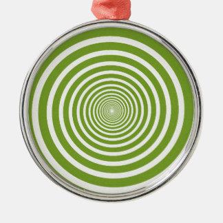 Grön spiral optisk illusion julgransprydnad metall