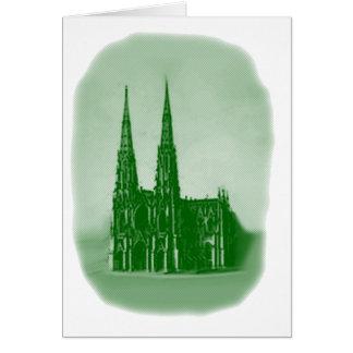 Grön St Patrick domkyrka för st patrick's day Hälsningskort