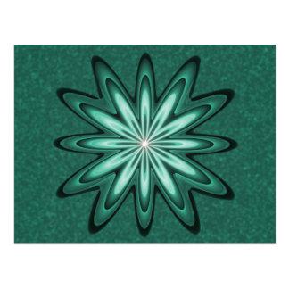 Grön stjärnablomma för hav på den Bokeh vykortet Vykort