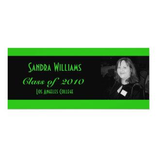 Grön studenten 10,2 x 23,5 cm inbjudningskort