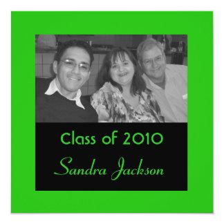 Grön studenten fyrkantigt 13,3 cm inbjudningskort
