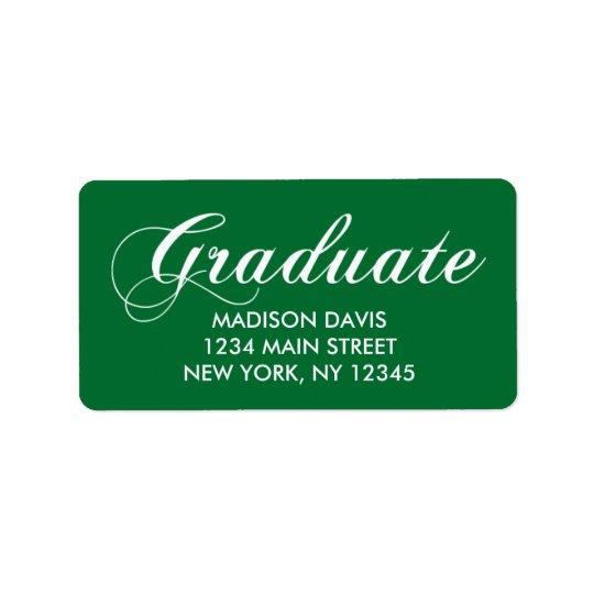 Grön studentenadressetiketter adressetikett