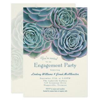 Grön suckulent förlovningsfestinbjudan för blått 12,7 x 17,8 cm inbjudningskort