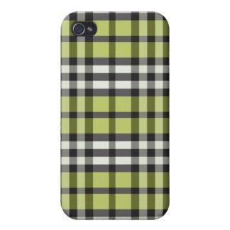 Grön svart pläd Pern för limefrukt iPhone 4 Hud