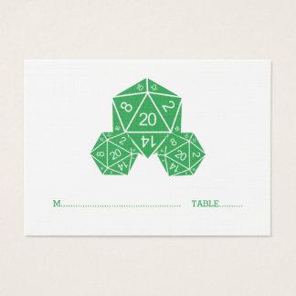 Grön tärning som D20 gifta sig ställekortet Visitkort