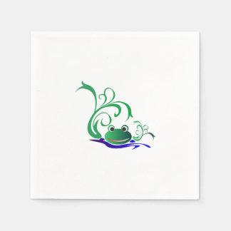 Grön tecknad som ler grodaansikte över vatten pappersservett