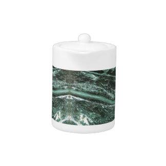 Grön tekanna för smaragd för marmorstenstruktur