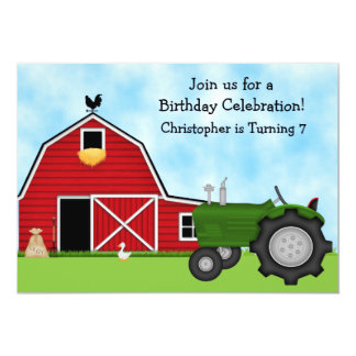 Grön traktor och röd ladugårdpojkefödelsedag 12,7 x 17,8 cm inbjudningskort