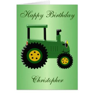 Grön traktorfödelsedag för personlig hälsningskort