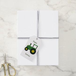 Grön traktorfödelsedag för personlig presentetikett