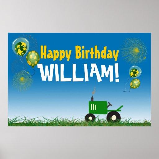 Grön traktorfödelsedagaffisch affischer