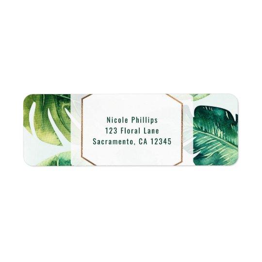 Grön tropisk inbjudan för lövvitelegant returadress etikett