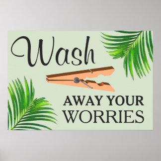 Grön tropisk rolig tvättstuga undertecknar poster