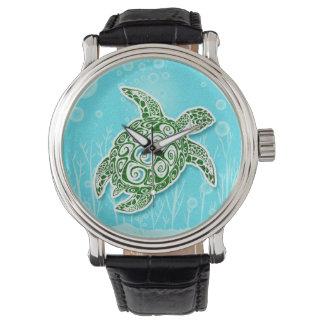Grön undervattens- havssköldpadda armbandsur