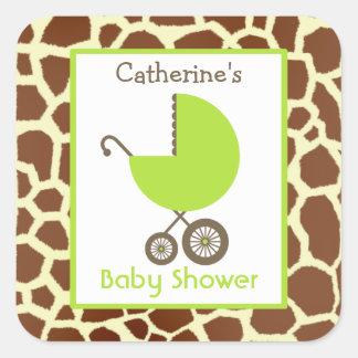 Grön vagn för baby shower & girafftryck fyrkantigt klistermärke
