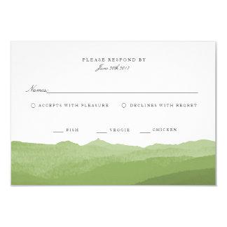 Grön vattenfärgbergOSA kort 8,9 X 12,7 Cm Inbjudningskort
