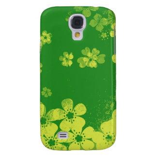 Grön vintageblommönster för limefrukt galaxy s4 fodral