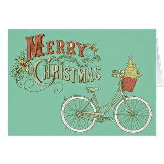 Grön vintagegod julcykel hälsningskort