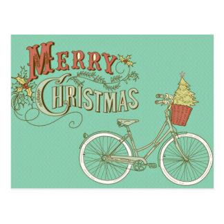 Grön vintagegod julcykel vykort
